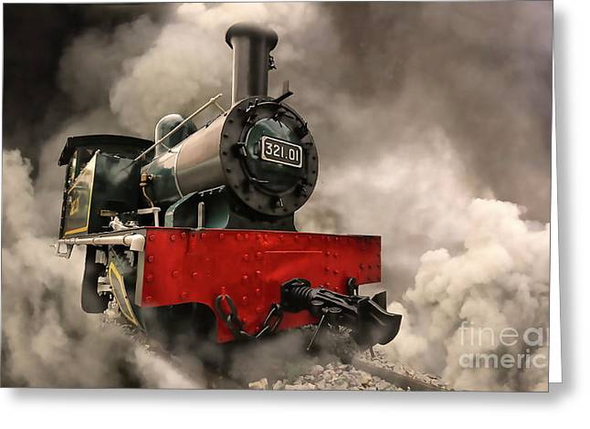 Greeting Card featuring the photograph Steam Engine by Charuhas Images