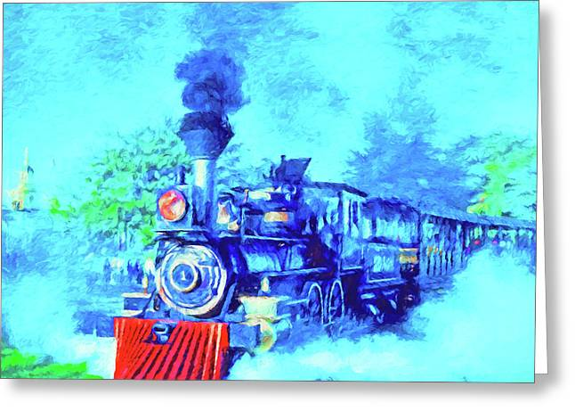Edison Locomotive Greeting Card by Dennis Cox
