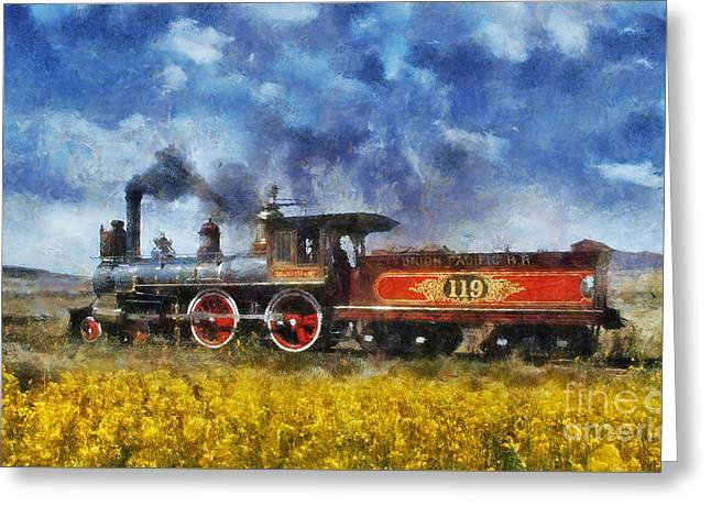 Greeting Card featuring the photograph Steam Locomotive by Ian Mitchell
