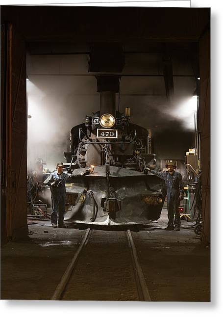 Greeting Card featuring the photograph Steam Locomotive In The Roundhouse Of The Durango And Silverton Narrow Gauge Railroad In Durango by Carol M Highsmith