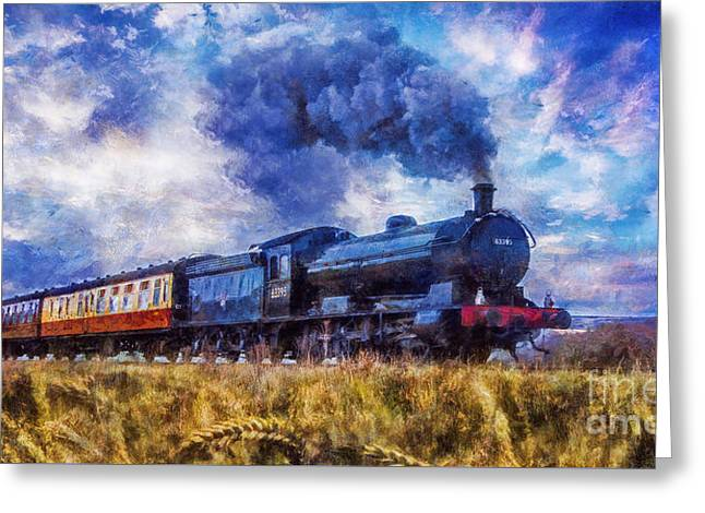 Greeting Card featuring the digital art Steam Train by Ian Mitchell