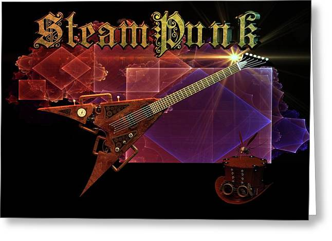 Greeting Card featuring the digital art Steampunk Guitar by Louis Ferreira