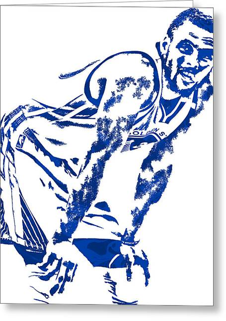 Stephen Curry Golden State Warriors Pixel Art 4 Greeting Card
