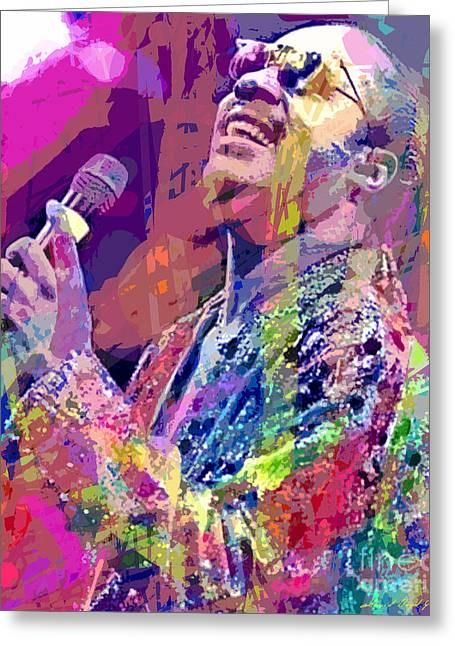 Stevie Wonder  Greeting Card by David Lloyd Glover