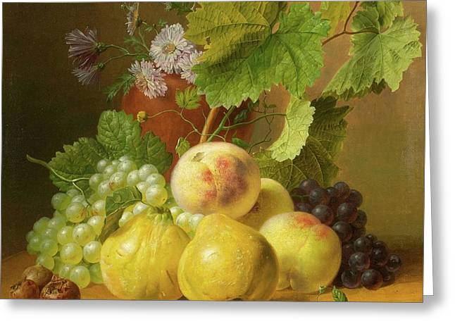 Still Life Of Fruits With Quinces And Peaches On A Stone Plinth Greeting Card by Willem
