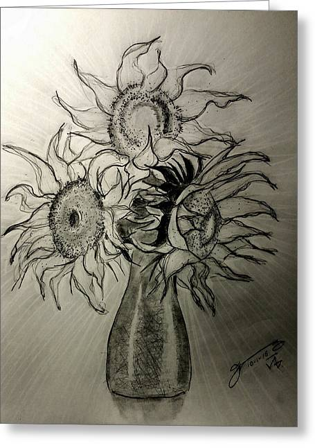 Still Life - Vase With 3 Sunflowers Greeting Card