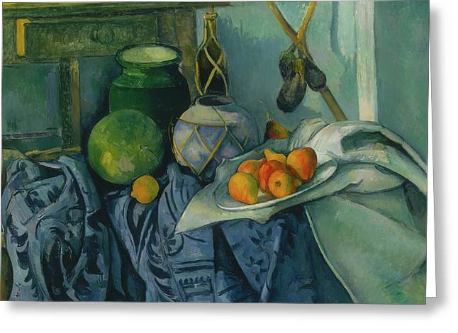 Still Life With A Ginger Jar And Eggplants Greeting Card by Paul Cezanne