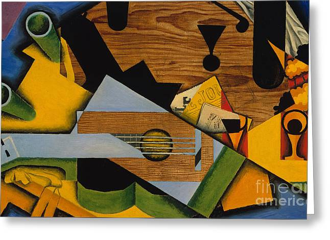 Still Life With A Guitar Greeting Card by Juan Gris