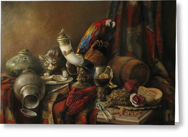 Still-life With A Wineglass Greeting Cards - Still-life with a lobster Greeting Card by Tigran Ghulyan