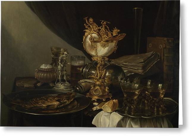 Still Life With A Nautilus Cup Greeting Card by Gerrit Willemsz Heda