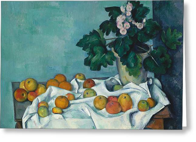 Still Life With Apples And A Pot Of Primroses Greeting Card