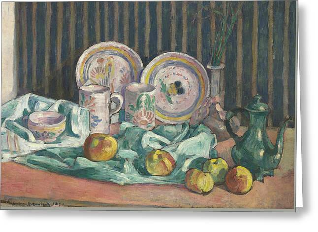 Still Life With Apples And Fruit Bowls Greeting Card by Emile Bernard