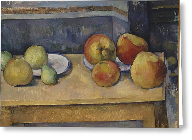 Still Life With Apples And Pears Greeting Card by Paul Cezanne