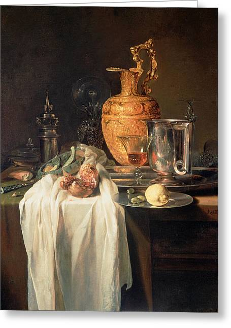 Still Life With Ewer, Vessels And Pomegranate Greeting Card