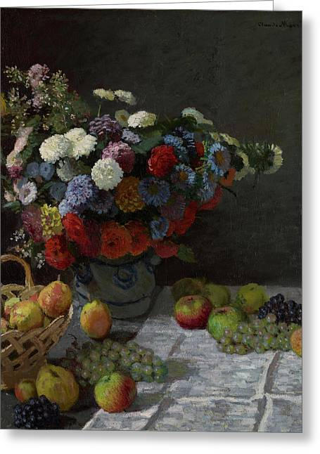 Still Life With Flowers And Fruit Greeting Card by Claude Monet
