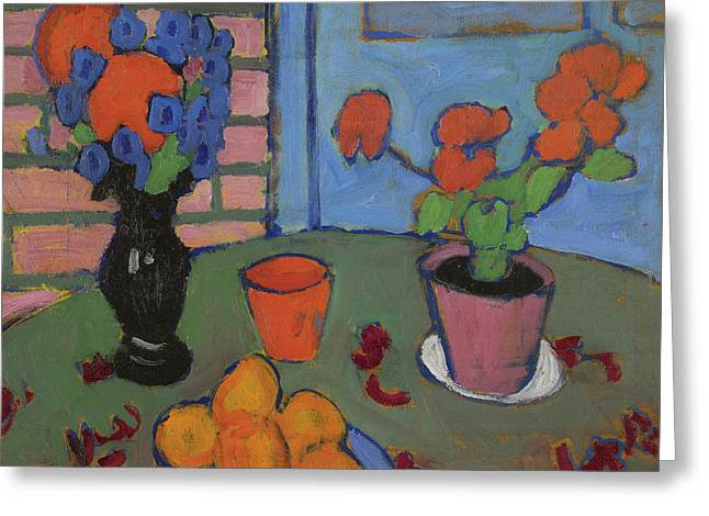 Still Life With Flowers And Oranges Greeting Card