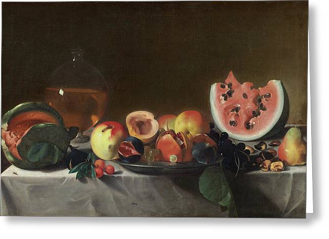 Still Life With Fruit And Carafe Greeting Card by Pensionante Del Saraceni