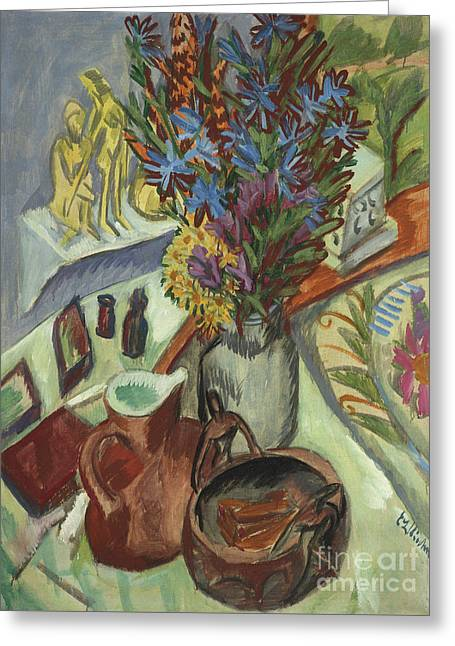 Still Life With Jug And African Bowl Greeting Card