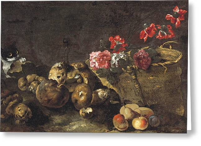 Still Life With Mushrooms Fruit A Basket Of Flowers And A Cat Greeting Card by Attributed to Simone del Tintore