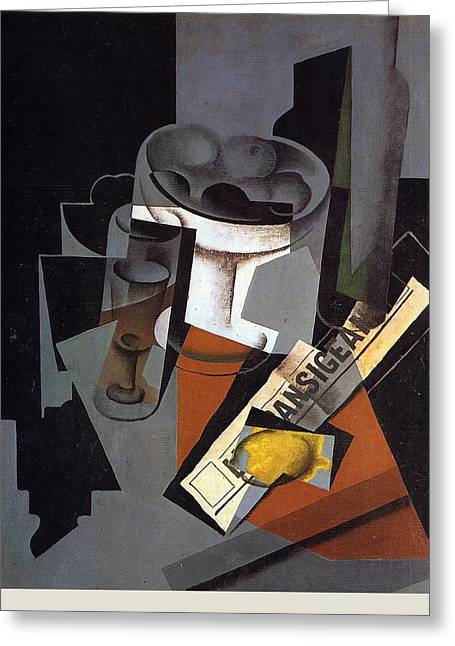 Still Life With Newspaper Greeting Card by Juan Gris