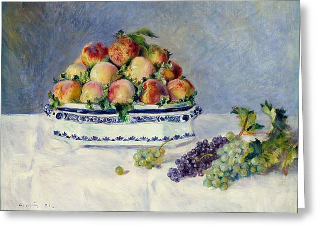 Still Life With Peaches And Grapes Greeting Card by Auguste Renoir
