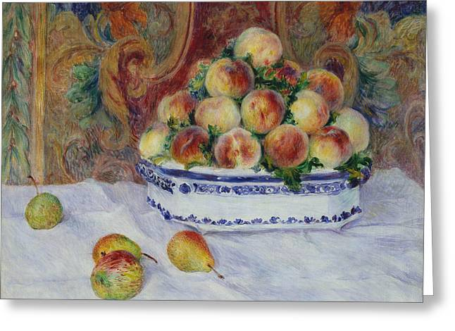 Still Life With Peaches Greeting Card by Auguste Renoir