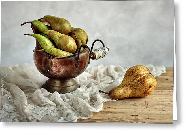 Still-life With Pears Greeting Card by Nailia Schwarz