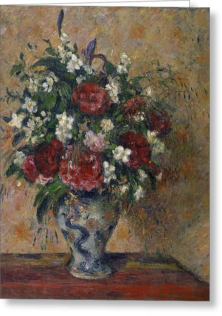 Still Life With Peonies And Mock Orange Greeting Card by Camille Pissarro
