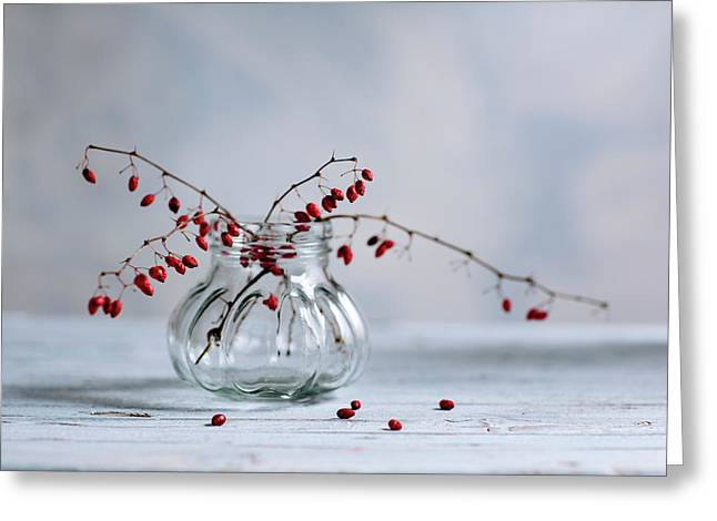 Still Life With Red Berries Greeting Card by Nailia Schwarz