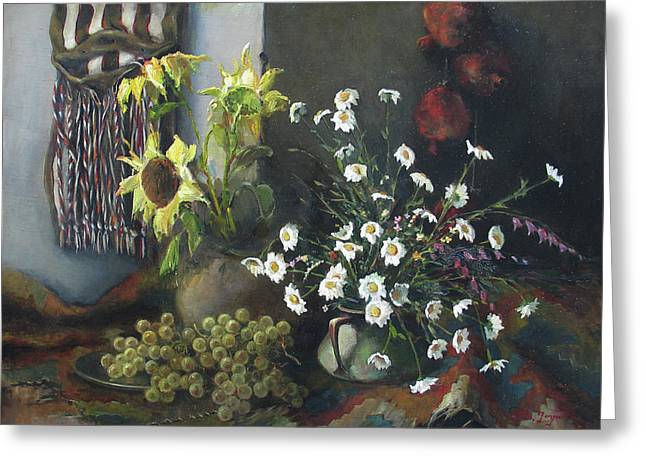 Oil Greeting Cards - Still-life with sunflowers Greeting Card by Tigran Ghulyan