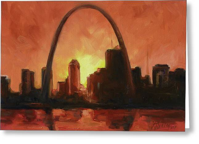 St.louis Downtown - Sunset Greeting Card