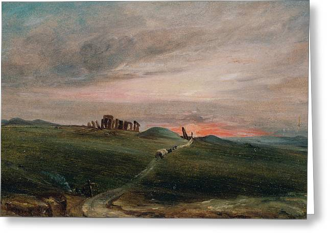 Stonehenge At Sunset Greeting Card