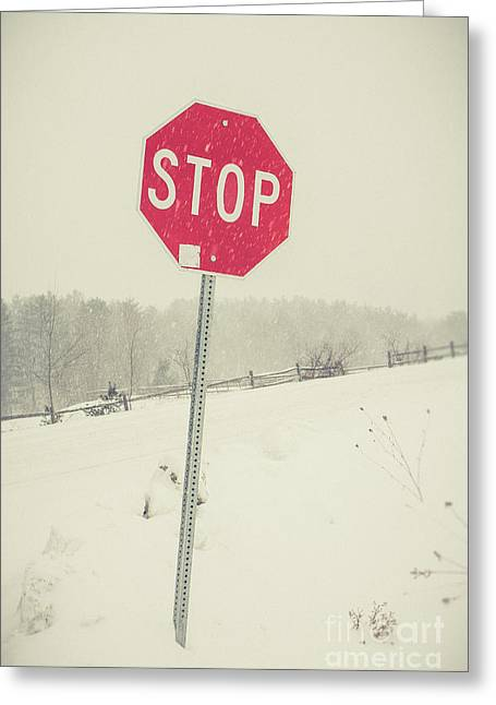 Stop Greeting Card by Edward Fielding