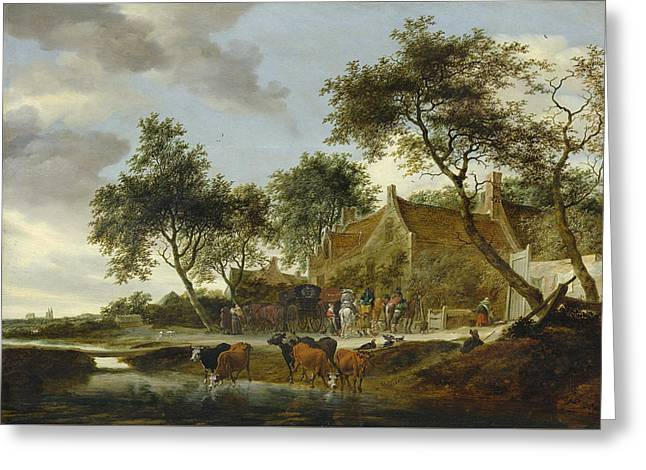 Stopping Place Greeting Card by Salomon van Ruysdael