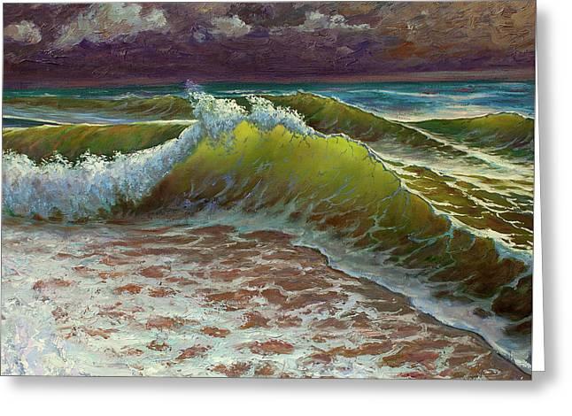Storm Waves Greeting Card by Kristian Leov
