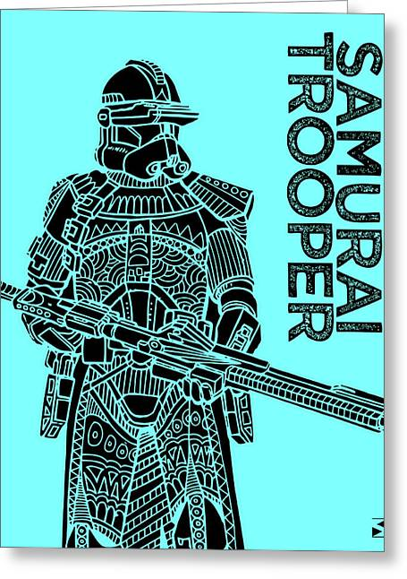 Stormtrooper - Star Wars Art - Blue Greeting Card