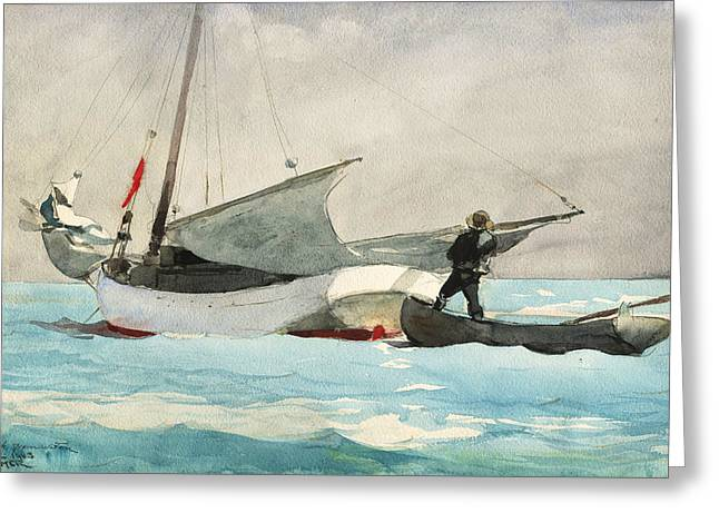 Stowing Sail Greeting Card by Winslow Homer