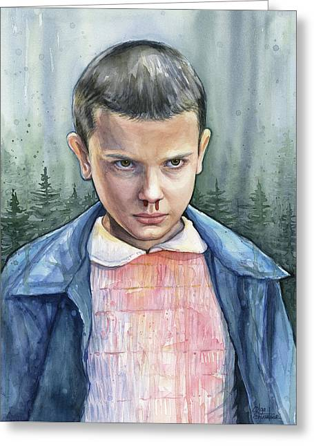 Stranger Things Eleven Portrait Greeting Card
