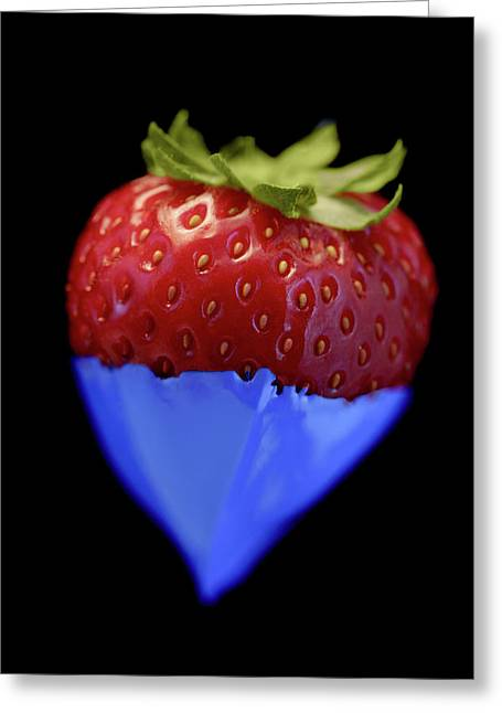 Strawberry Blue Greeting Card by Al Hurley