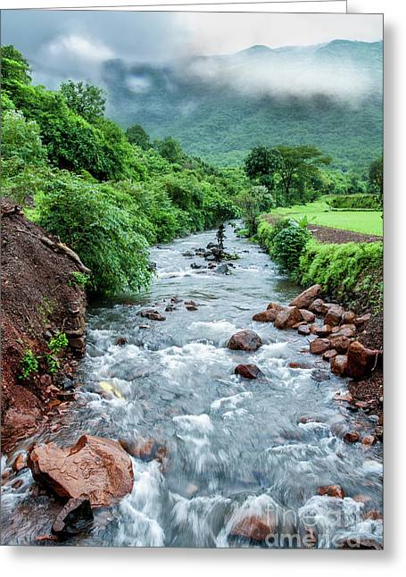 Greeting Card featuring the photograph Stream by Charuhas Images