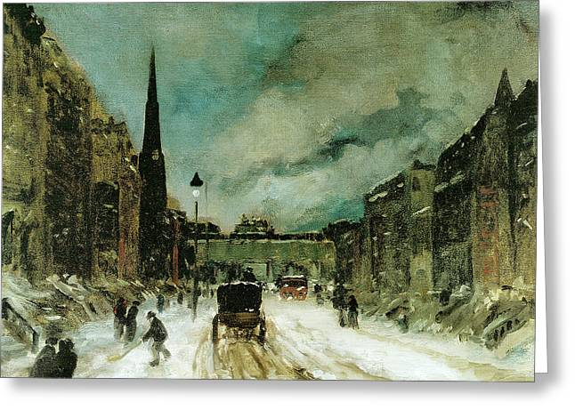 Street Scene With Snow New York City Greeting Card