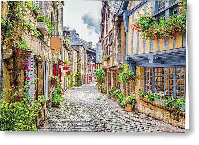 Streets Of Dinan Greeting Card by JR Photography