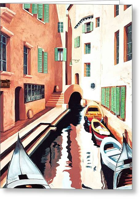 Streets Of Venice - Prints From Original Oil Painting Greeting Card