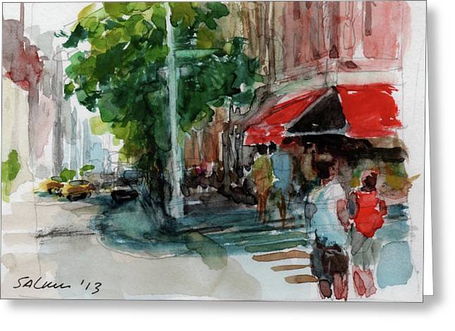 Streetscape With Red Awning - 82nd Street Market Greeting Card by Peter Salwen