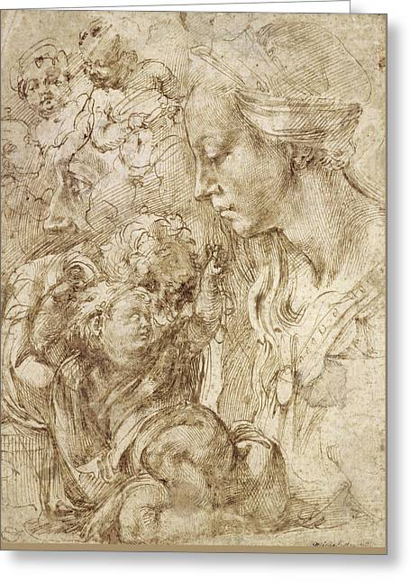 Studies For A Holy Family Greeting Card by Michelangelo Buonarroti