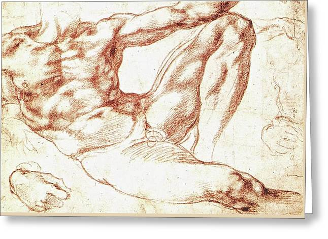 Study For Adam Greeting Card by Michelangelo Buonarroti
