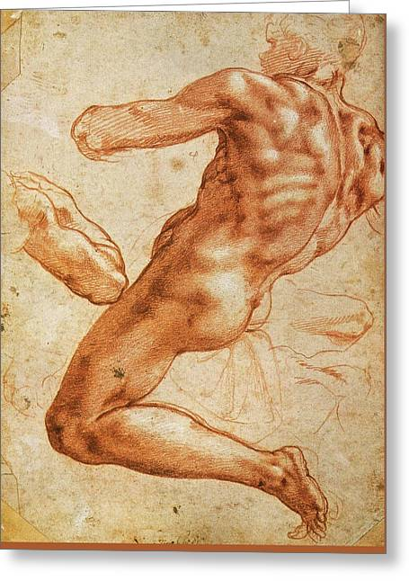 Study For An Ignudo Greeting Card by Michelangelo Buonarroti