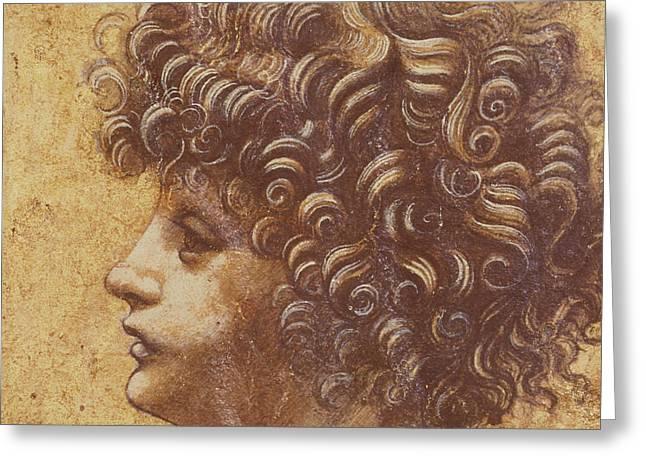 Study Of A Child's Head Greeting Card by Leonardo Da Vinci