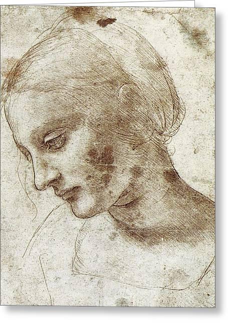Study Of A Woman's Head Greeting Card by Leonardo da Vinci