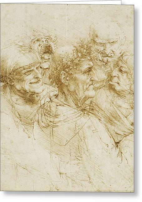 Study Of Five Grotesque Heads Greeting Card by Leonardo da Vinci